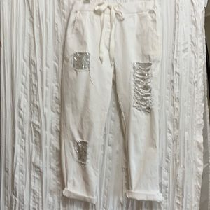 Sequined White Cotton Pants